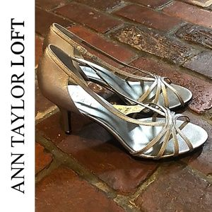NWT ANN TAYLOR LOFT METALLIC HEELED SANDAL